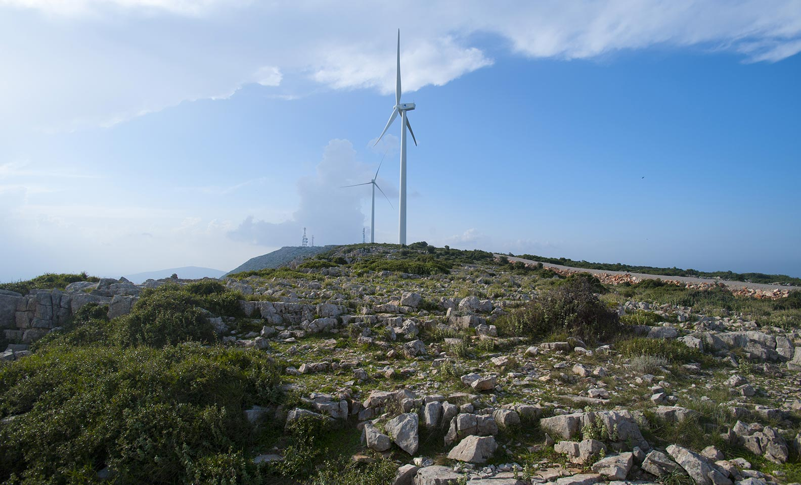 Series of wind turbines in the mountains